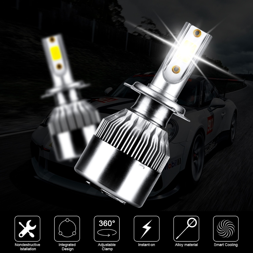 2x H7 Canbus COB Car LED Headlights Bulb High Low Beam 3600LM 72W For  Mercedes Benz W211 W210 W124 W212 W204 W203 W205 W220 W221