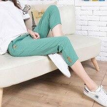 Linen Pants Women Summer Calf Length Harem Pants Colorful Casual Elastic Waist Pants Capris Trousers Women Plus Size S-3XL