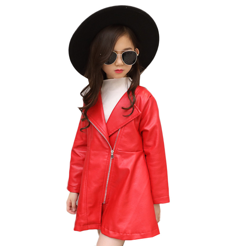 купить Kids Clothes Jackets for girls 2018 Autumn Winter Long Zipper Girls Coats and Jacket Children Clothing Big Girls Leather Jacket