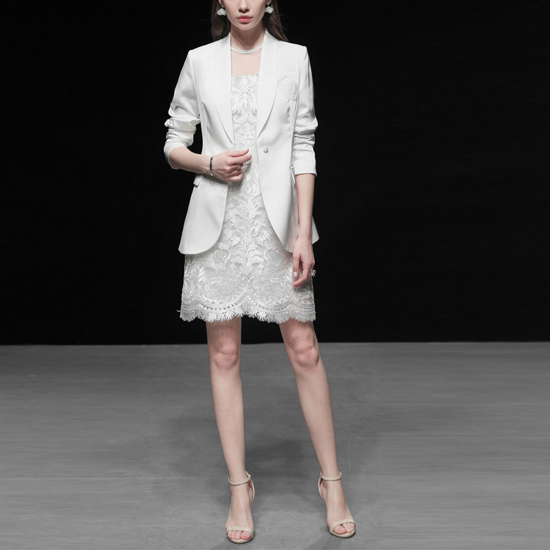 Runway Dress Suits Women Luxury Elegant High Quality Blazer Suit Jacket Tops + Lace Dress Office Ladies Formal Work 2 Piece Suit