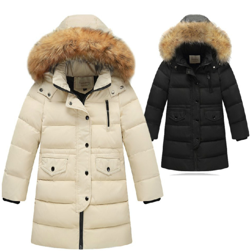 Brand Fashion Chilsren Down parks New Outerwear Thick Warm Children's Down jacket Boy Gir Long Sleeve Hoode -30degree пуховик для мальчиков brand new 110 150 drop boy outerwear page 3