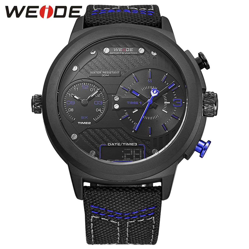 New WEIDE Sport Quartz Clock Men Casual Watch Fashion Nylon Wristwatch Waterproof  Military Men's Watches Relogio Masculino Saat weide casual genuin new watch men quartz digital date alarm waterproof fashion clock relogio masculino relojes double display