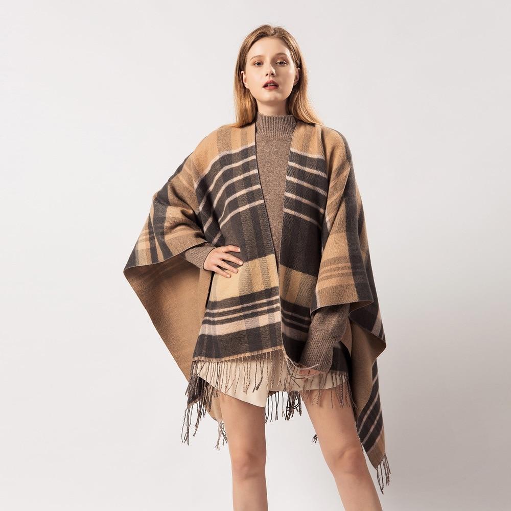 Cachecóis femininos inverno quente xadrez borlas cashmere versátil extra quente xale poncho feminino inverno cachecol cachecóis feminino 2019
