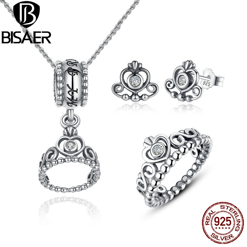 Genuine 925 Sterling Silver Jewelry Set My Princess Queen Crown & Clear CZ Jewelry Sets Wedding Engagement Jewelry Accessories
