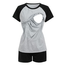 Women Maternity Pajamas Set Nursing Baby T-shirt+Shorts Cotton Maternity Pajamas Women Pregnancy Nightwear For Nursing Pyjama