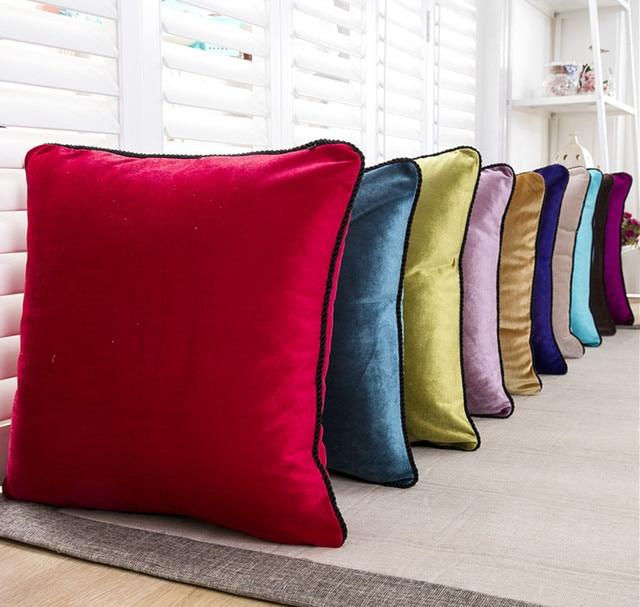 line Shop Drop Ship Luxurious Cushion Cover Plain Solid Velour