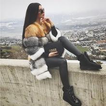 FURSARCAR 天然チョッキ本物のキツネの毛皮のコート新取り外し可能な厚手の本キツネの毛皮の女性 90 センチメートルロングリアル毛皮ジャケット