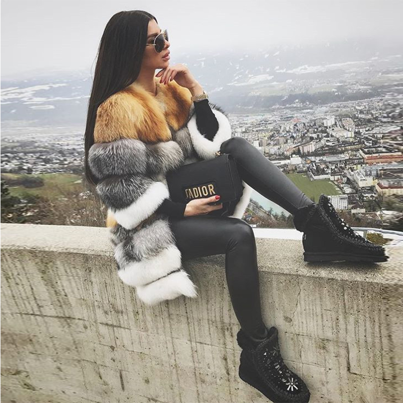 FURSARCAR Natural Waistcoat Real Fox Fur Coat For Women New Detachable Thick Genuine Fox Fur Female 90CM Long Real Fur Jacket