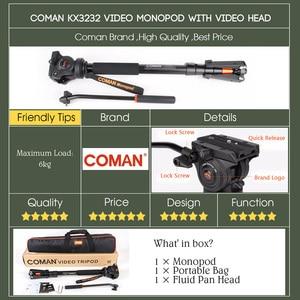 Image 5 - Profesyonel Coman alüminyum alaşımlı Video Tripod Monopod sıvı Pan kafa Unipod tutucu Canon Sony Nikon Panasonic GH5 DSLR