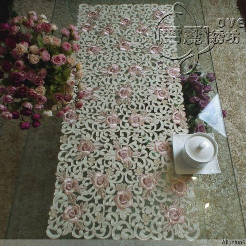 Деревенский ткань вышивка обеденный стол скатертью коврик Кофе столбец вырез крышки полотенце Роза