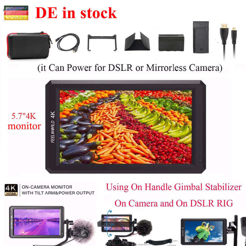 (DE Location) Feelworld F6 5.7 IPS 4K HDMI Camera Monitor for DSLR or Mirrorless Camera it Can Power for Camera,camera monitor цена