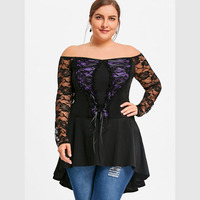 CharMma 2018 Spring Plus Size 5XL Lace Up Dip Hem Top Women Casual Autumn Off The