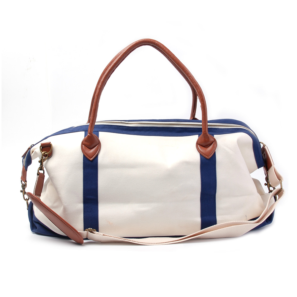 canvas material travel bag large capacity duffle bag overnight weekend tote bag with PU handle DOM148
