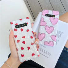 Crystal Crack Love Heart TPU Soft Case For Samsung S8 S9 S10 Plus Bling Marble Style Phone Cover Note8 Note9 Coque Girls