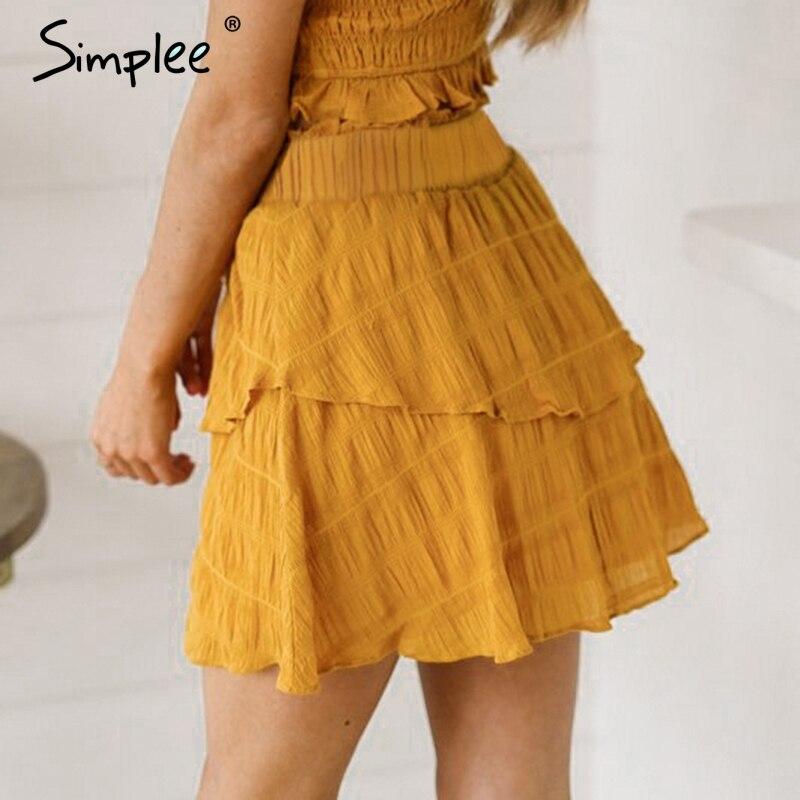 Simplee Elegant A-line Mini Skirt Women High Waist Summer Short Ruffle Yellow Skirts Casual Holiday Beach Solid Skirt Female