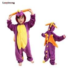 Новые детские пижамы милые девушки унисекс пижамы дети животных фиолетовый  пижамы Дракон Единорог корова Комбинезоны Косплэй 203143c14a692