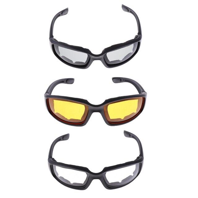 3 Pair PVC Retro Motorcycle Windproof Padded Foam Riding Glasses UV400 lenses Motobike Men Eyewear Yellow Clear Smoke