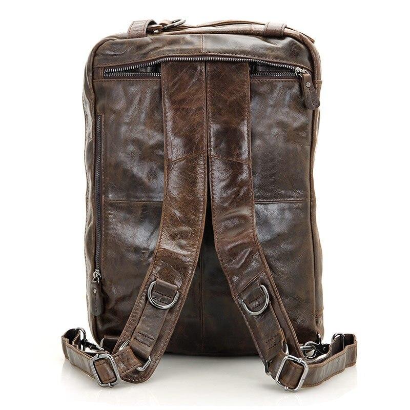 Pour hommes porte-documents fourre-tout en cuir véritable hommes Messenger sacs voyage pochette d'ordinateur d'affaires en cuir de vache sac à bandoulière portefeuille # J7014 - 5