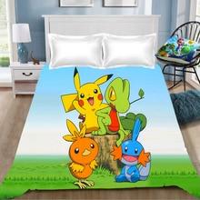 1pcs Pokemon Pikach Anime Printing Bed Sheet Cartoon coverlet Children Room  (NO cover pillowcase)