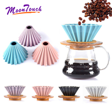 Espresso Coffee Filter Funnel Flowers Ceramic Cup Origami Cups V60 Drip Hand Filters Accessories