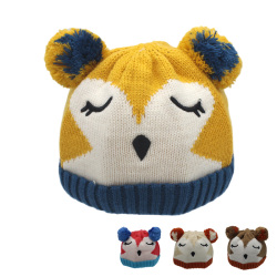 New cute children winter hat cartoon plush lining knitted baby hat with ears warm infant beanie.jpg 250x250