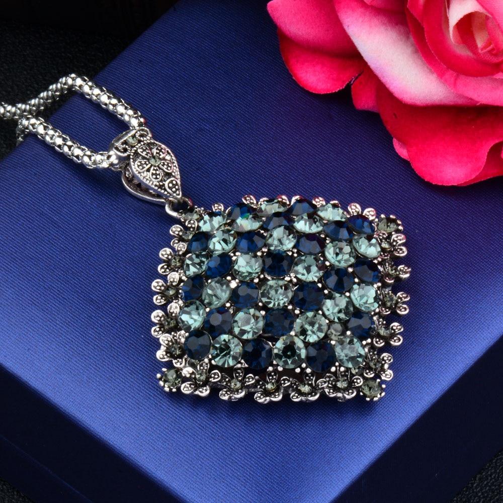SINLEERY Vintage Fuld Mørkeblå Rhinestone Big Vedhæng Lang - Mode smykker - Foto 3