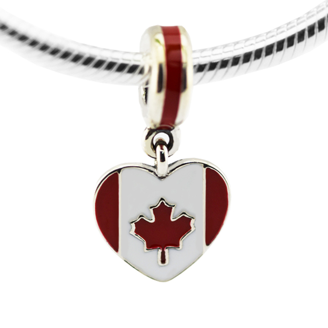 Fits Bracelet Charms DIY Beads for Jewelry Making Canada Heart Flag Silver Charm Real 925 Sterling-Silver-Jewelry for Women