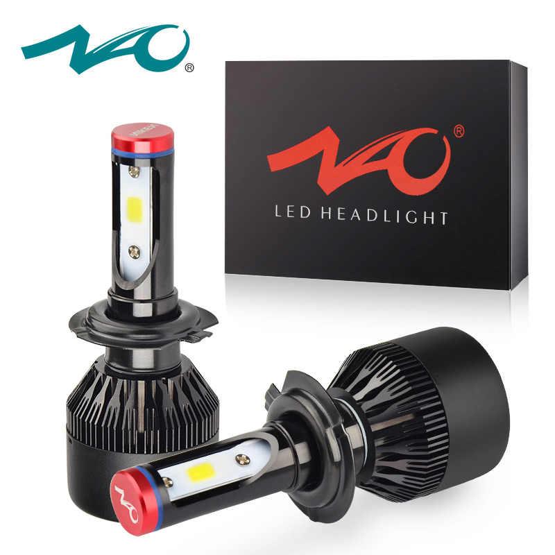 NAO H4 led h7 headlights h1 led bulb car light h3 hb4 h11 led lamp for auto 12V h27 880 9006 9005 hb3 h9 h8 h13 HB5 72W bulb