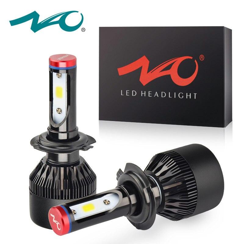 NAO H4 led h7 koplampen h1 led lamp auto licht h3 hb4 h11 led lamp voor auto 12 v h27 880 9006 9005 hb3 h9 h8 h13 HB5 72 w lamp