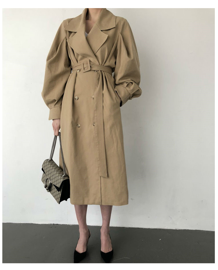 Autumn 19 Woman khaki Long Trench Coat British Style Vintage Puff Sleeve Long Dust Coat Elegant Waist Bandage Windbreaker 4
