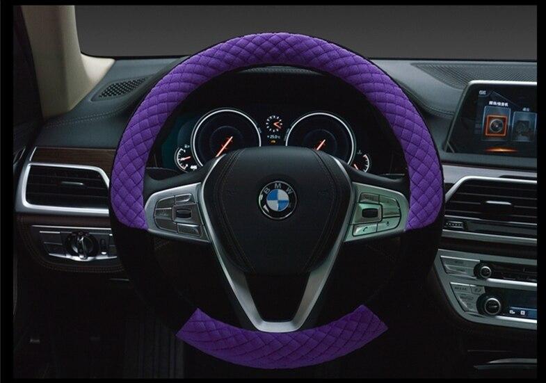New Universal Winter Soft Velour Steering Wheel Cover Anti Slip Rubber Fit for 38cm 14.9 Gift for Lovers Family Purple Red