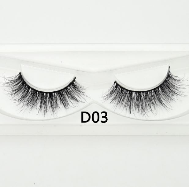 Visofree Natural 100% Handmade  False Eyelashes  Strip Mink Eyelashes Cruelty Free Reusable Lashes Thick Long 3D Mink Lashes D03