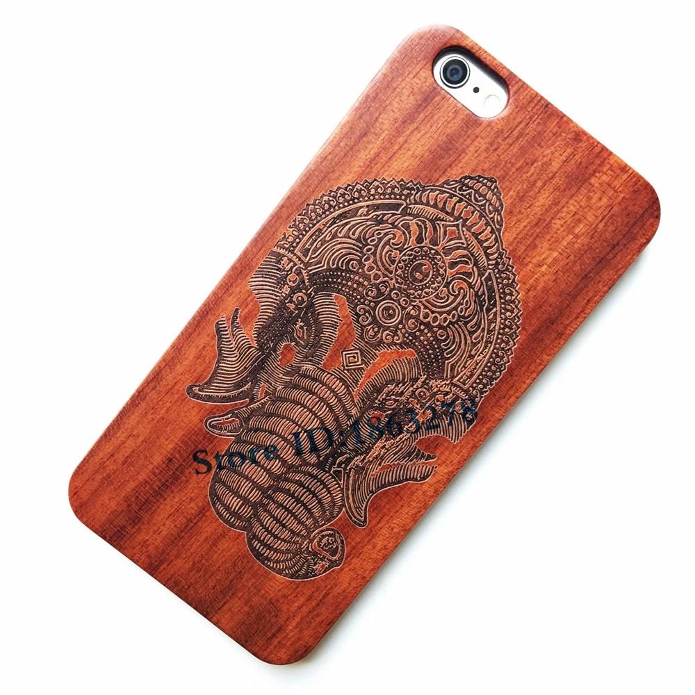coque de telephone en bois a motif elephant indien pour iphone 7 8 plus 5 5s se 6 6s 6plus