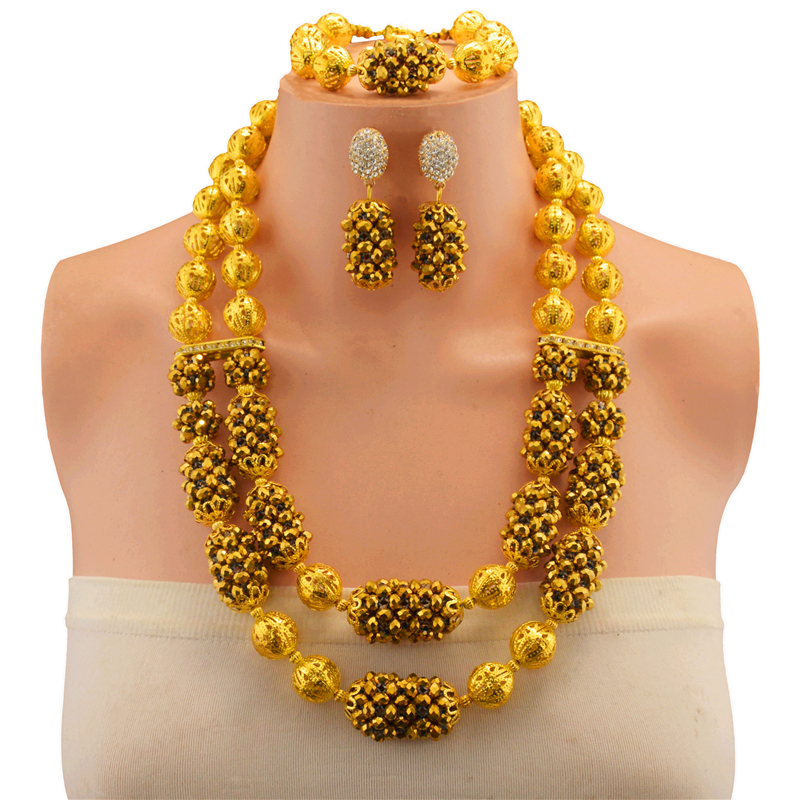 Nigerian Beads Wedding Jewelry Set Bridal Dubai Gold Color Jewelry Sets African Beads Necklace Bracelet Jewelry Set цены онлайн