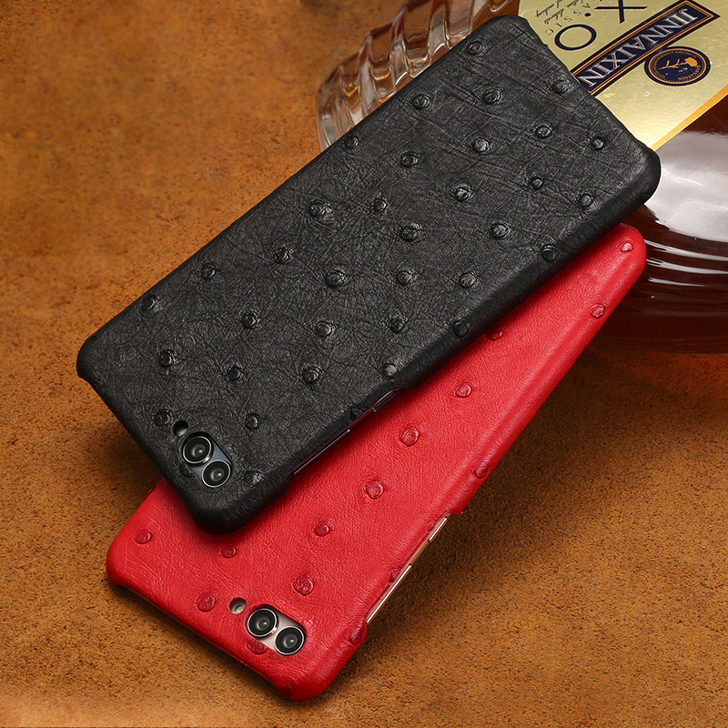 Nuevo Medio paquete de la caja del teléfono móvil para Huawei P20 lite cierto de avestruz de la caja del teléfono de la piel de cuero genuino de lujo teléfono caso de protección - 4