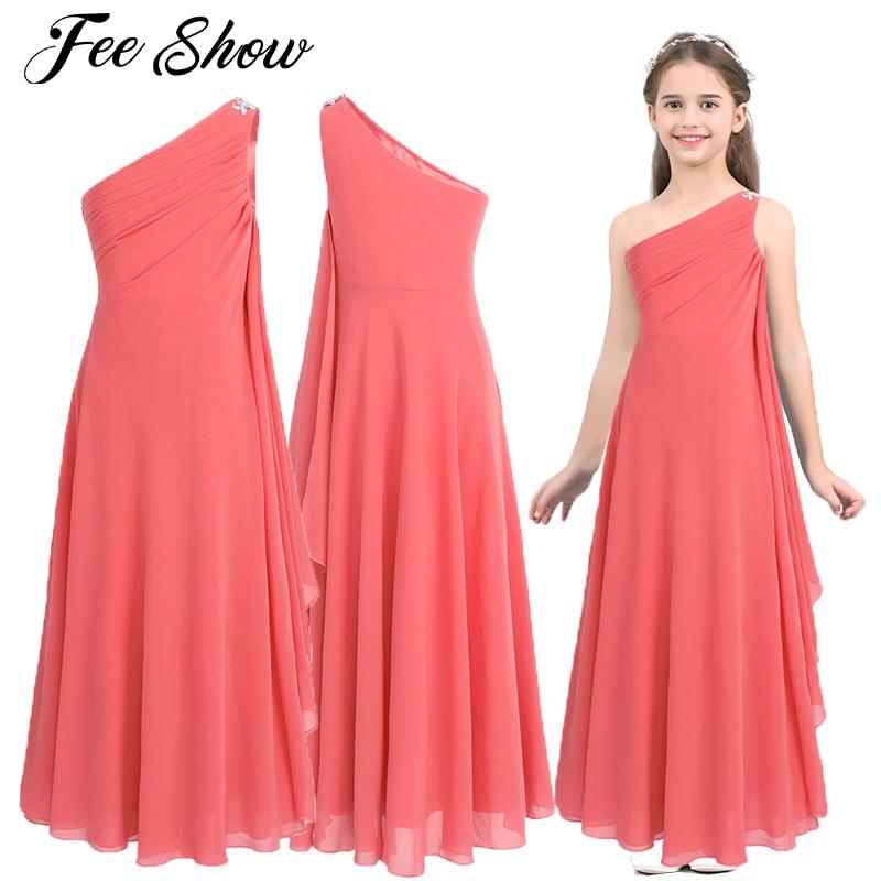 Платье с цветами для девочек, шифоновое платье со стразами, пышное платье принцессы на одно плечо, свадебные вечерние платья подружки невес...