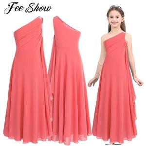 Image 1 - Kwiat dziewczyny sukienka szyfonowa sukienka Rhinestone dzieci dziewczyny jedno ramię dla księżniczki na konkurs piękności druhna ślubna sukienka na przyjęcie urodzinowe