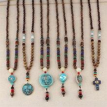Vintage Ethnic Nepal Buddhist Mala Long Necklace Wood Beads Buddha Statement Elephant Pendants Necklaces Women Men Dropshipping