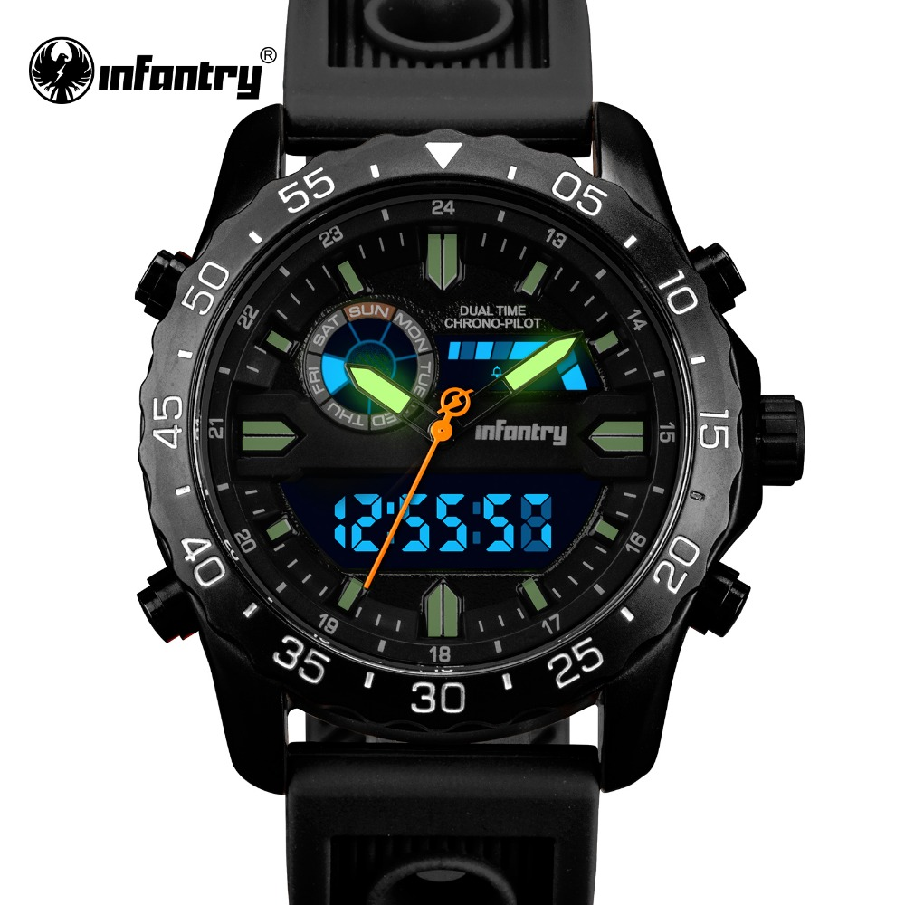 INFANTRY Mens Watches Top Brand Luxury Quartz Watch Auto Date Clock Rubber Strap Military Army Wrist Watch Relogio Masculino orkina 2016 mens watches top brand luxury rose gold wrist watch men dress quartz auto date man business clock relogio masculino