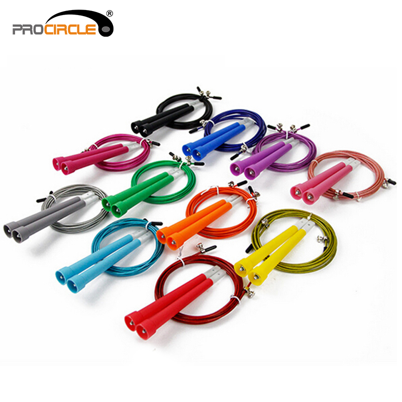 FeDex Free Shipping ProCircle 50pcs Crossfit Skipping Rope 3M Steel Cable Wire Speed Jump Rope Fitness MMA, WODs