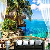 3d Large Wall Mural Wallpaper HD Balcony Window Beach Sea Palm Hut Holiday Backdrop Custom Silk