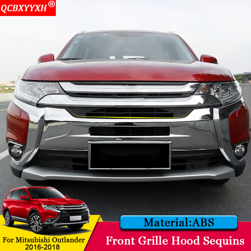 QCBXYYXH Car Styling ABS Front Grille Hood Engine Cover Trim External Sequins Car Accessories For Mitsubishi Outlander 2016-2018 montford car styling abs matte internal gear panel cover trim for mitsubishi outlander 2016 2017 only for left handed driving