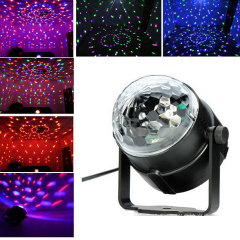 RGB Stage Laser Lights Magic Ball Party DJ Disco Mini LED Lighting Voice-Control rg mini 3 lens 24 patterns led laser projector stage lighting effect 3w blue for dj disco party club laser