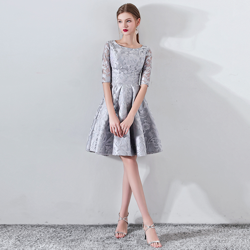 New Gray Half Sleevelss   Cocktail     Dress   Elegant Embroidery Mini Length Formal   Dress   Party Gown LF329