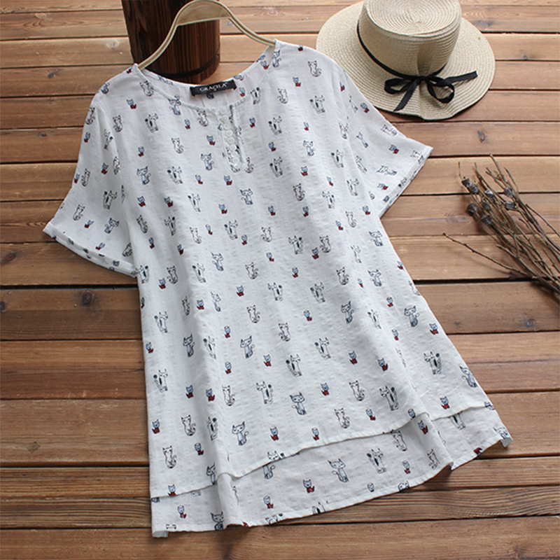 Top Blusas 2018 Summer Women Elegant O Neck Short Sleeve Boho Floral Printed Blouse Loose Casual Shirt Baggy Femme Party Blusa