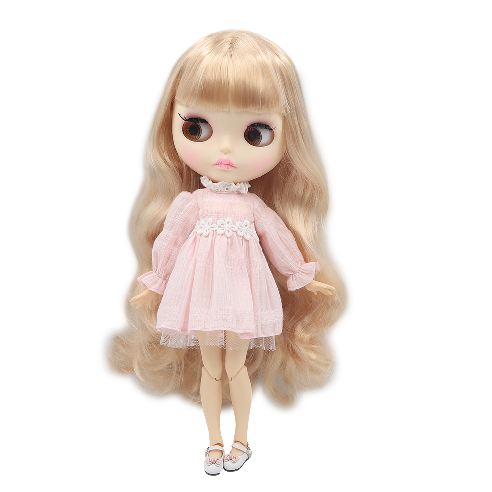 Blyth Doll 1 6 Joint Body New matte face white skin Cute pink long hair DIY