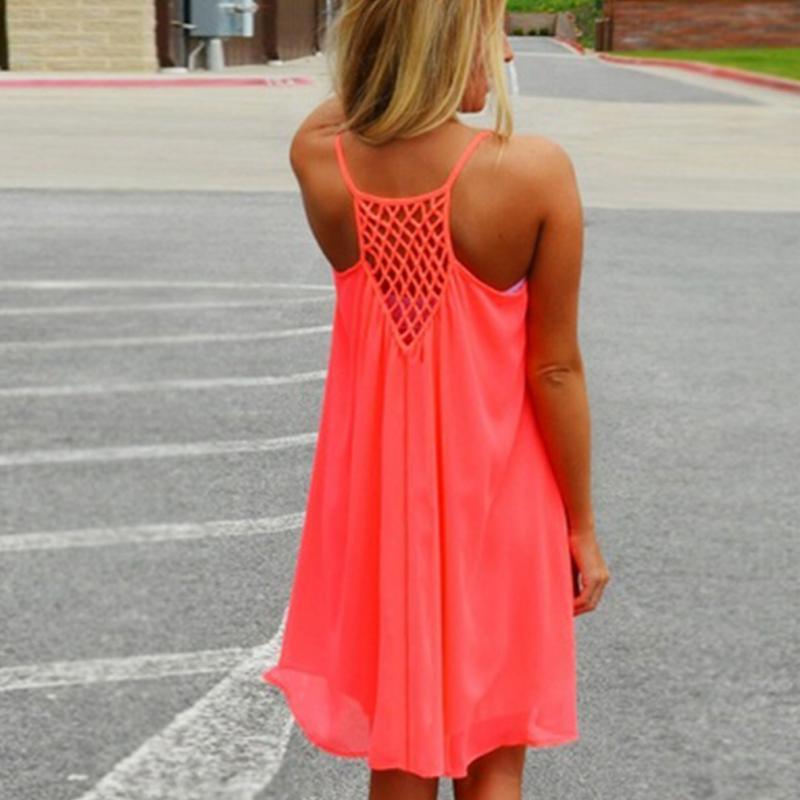 Women Beach Dress Fluorescence Summer Sun Dress Chiffon Female Ladies Girls Dress 2018 Summer tunic plus size women clothing