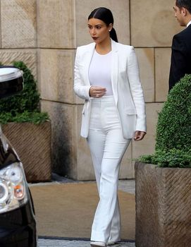 Custom Made White Womens Suits Formal Jacket+Pants Pants Suit Office Ladies Business Tuxedos B405