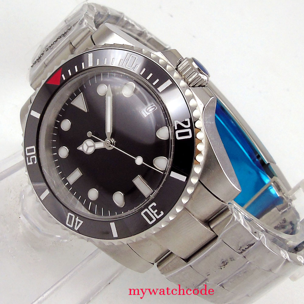 40mm bliger sterile black dial bow glass automatic movement mens watch