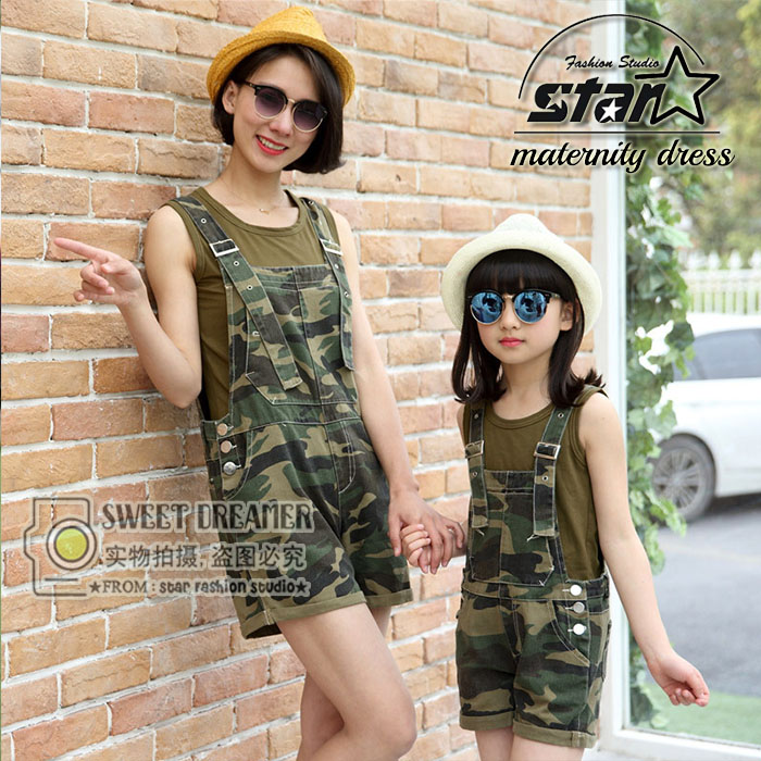 Army Style Mom Daughter Camouflage Overall Clothes Set 2016 Mother Kid Girls Short Pants Sets Family